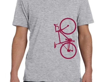 Burgundy Bicycle TShirt For Men, Mens Clothing, Bicycle Clothing, Bicycle T-Shirt