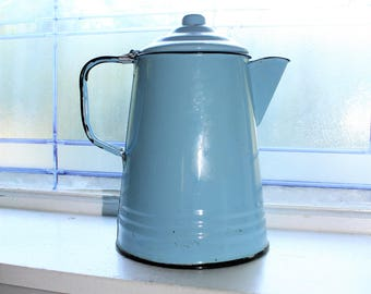 Antique Enamelware Coffee Pot Robins Egg Blue