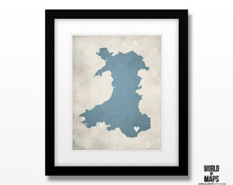 Wales UK Map Print - Home Town Love - Personalized Art Print Available in Different Sizes & Colors