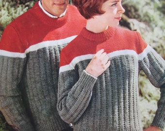 1960's Vintage Knitting Patterns His and Hers Sweaters PDF Pattern 747-3, 747-4