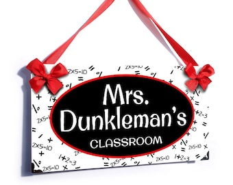 math pattern theme custom teachers classroom door sign in black white and red- P2272