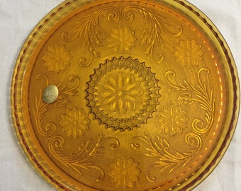Vintage Tiara Sandwich Glass Round Tray for decanter set in Amber