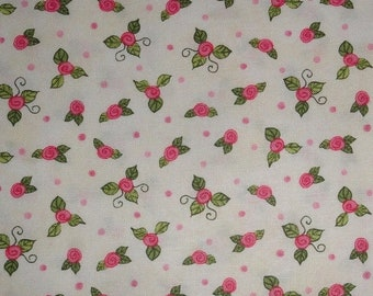 Fairy Bella Ballerina Roses Cotton Fabric with Pink Roses Tutu Ballet Dancer Ballet Shoes for quilting and sewing