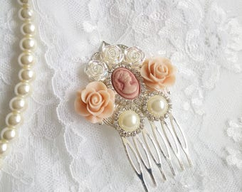 Peach wedding hair comb, Victorian hair comb, peach hair piece, blush wedding, Marie Antoinette, peach blush Bridesmaids hair comb, OOAK
