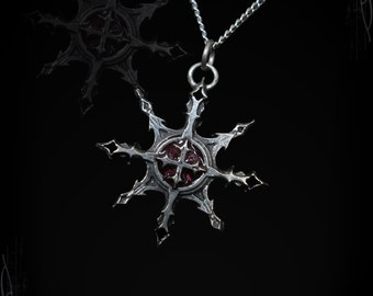 Chaos Star pendant with templar cross, The Chaos Templar, Gothic Jewelry