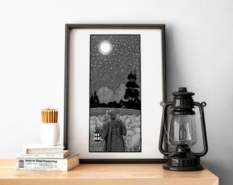 Moonlit Sky, Occult, Black and White Print, Home Decor, Modern, Tattoo Art, Geometric Art Print, Oddities, Alternative Art, Gift Shop