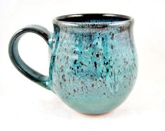 Handmade pottery mug, Ceramic mug, 22 oz. coffee mug in Teal blue - In stock TBBB