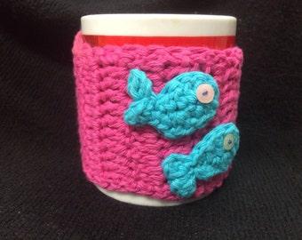 Applique Crocheted Mug Cozy