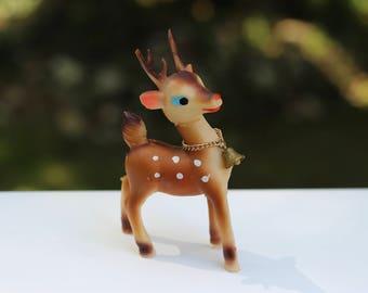 Vintage Japan Rubber Reindeer Christmas Decoration Plastic Reindeer