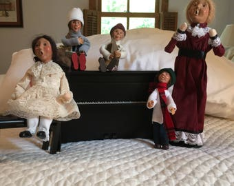 Byers Choice Figurines, Caroler, Piano, Piano Bench, Pianist and three (3) Kindle Byers Choice Ornaments