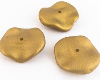 22mm x 24mm Matte Gold Wavy Disc (4 Pcs) #UP024