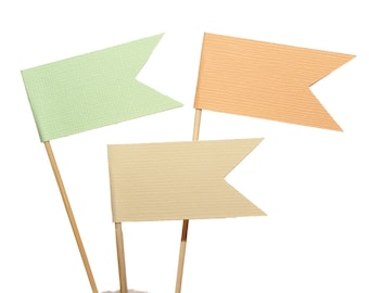 Peach Mint Ivory Flag Cupcake Toppers / Appetizer Picks / Food Picks / Peach Ivory Mint Party Decor