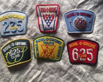 Great Lot of Six (6) Vintage Bowl-0-Drome Bowling Patches - NOS