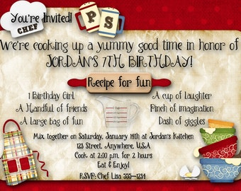 Cooking, Baking Birthday Party Invitation