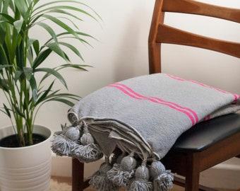 Grey and Pink Moroccan Pom Pom Bohemian Blanket