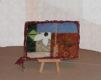 desert flower mixed media fabric collage 5 x 7 art quilt