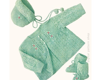 Vintage Baby Knitting Pattern Lacy Sweater Bonnet & Booties Embroidered Rosebuds Arrow Pattern PDF Instant Download K83