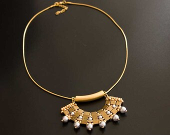 Gold Bronze Pendant with Silver Swarovski Crystal Pearls, Hanging from a Gold Plated Snake Chain Necklace. Geometric Fan Shaped Pendant S190