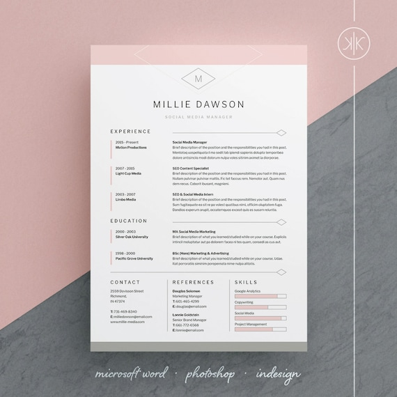 millie resumecv template word photoshop indesign