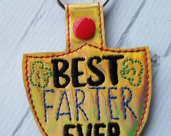Gold Chrome Best Farter Ever Keychain, Snaptab for Father