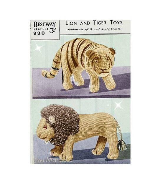 Patron pdf de tejido en crochet juguete tigre y leon munecos