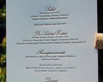 Letterpress Wedding Menu, Letterpress Menu, Custom Letterpress Wedding Menu, Wedding Menus, Custom Wedding Stationery, Custom Letterpress