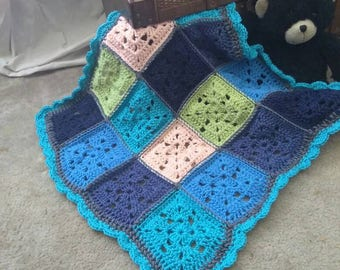 Coral, Green, and Blue Baby Blanket