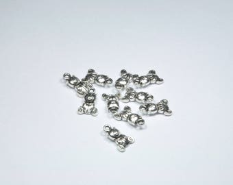 BR911 - Set of 10 bear charms in silver