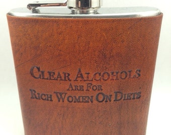 Custom Leather Hip Flask Ron Swanson Quote, Gift for him, Mens Flask, 6oz flask, Groomsmen gift, groom gift