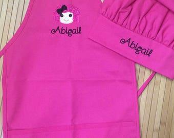Personalized Kids Child Girls Kitchen Chef Hat Bakery Lalaloopsy Apron Pink