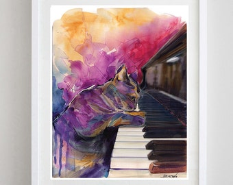 Piano Cat Art Print  Music Art Print - Fine Art Print - Cat poster  -Music Art - Home Decor