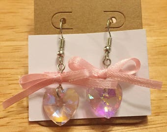 Magical Girl, Crystal Ribbon Heart Earrings, Valentines Day gift