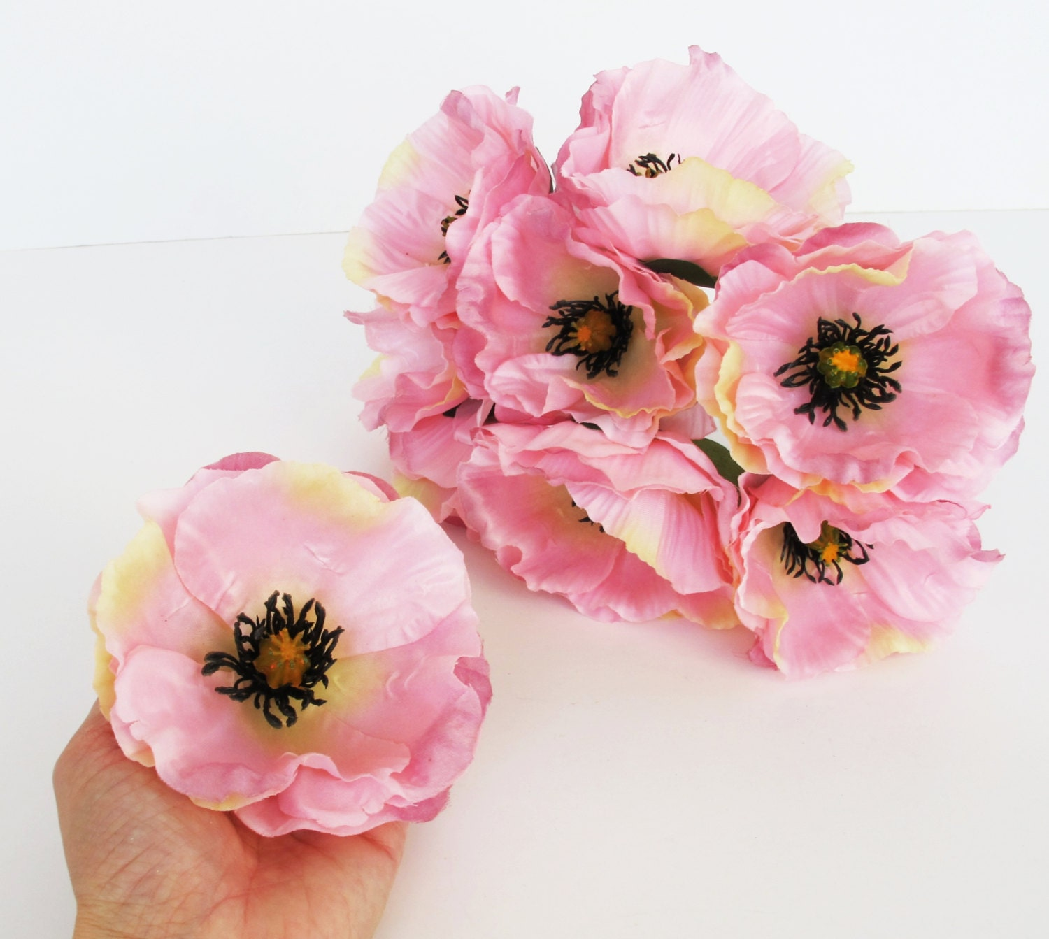 10 Pink Poppies Artificial Flowers Silk Poppy 4.3\
