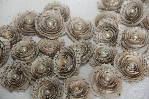 6 spiral paper flowers vintage book page paper flowers for mightylinksfo