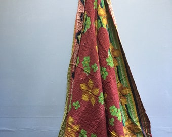 Vintage Kantha quilted cotton throw, twin - beach blanket, picnic blanket