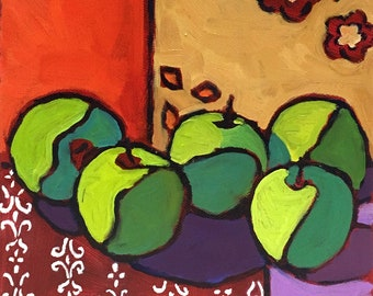 Patterned Apples  Abstract Still Life Oil Painting on Canvas