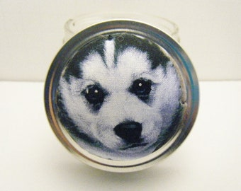 Pin Cushion - Jar - Sewing Kit - Pin Holder - Needle Holder - Sewing Accessory - Puppy Husky Pincushion - Dog - Black - White
