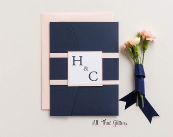 Cobalt Wedding Invitation set, Navy and coral Wedding invitations, navy and blush Wedding Invitations, nautical invitations, Hayley