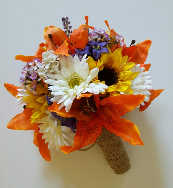 Sunflower and Tiger Lily Wedding Bouquet Orange Lily Bridal