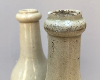 RESERVED Two vintage French stoneware bottles. Gorgeous glossy cool grey beige stone