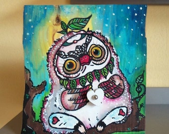Forest girlfriend  - Wooden picture - small owl with heart