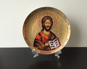 Russian icon Saint John the Baptist. Icon on porcelain plate. Plate decor. Decorative plate from Elan Gallery. Vintage plate.