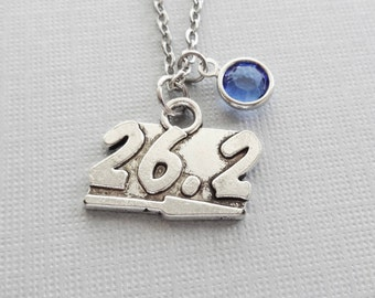 26.2 Necklace, Miles, Marathon, Runner Jewelry, Athlete Gift, Friend Birthday Gift, Silver Jewelry, Swarovski Channel Birthstone Crystal