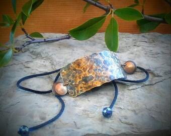 Hammered Brass Bracelet / Textured Patina Brass / Adjustable Bracelet / Brass jewelry