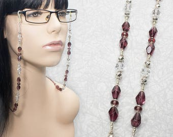 Amethyst and Silver Beaded Eyeglasses Chain / Beaded Glasses Chain / Amethyst Lanyard