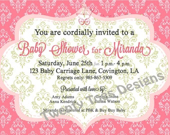 Pink BABY SHOWER Invitation PRINTABLE
