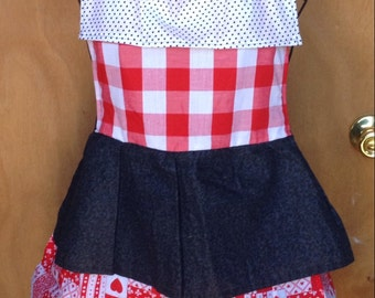 Apron, country apron, ruffle apron, red white and black apron,