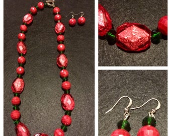 Christmas red and green necklace with matching earrings