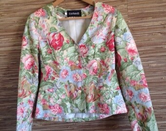 Cacharel jacket blazer flowers liberty vintage 90s