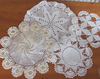 Vintage 80's Handmade Shades of Cream Crochet Lace Doilies - set of 4 - Doily - Home Decor - Granny Chic - Lace - Needlework - Gift